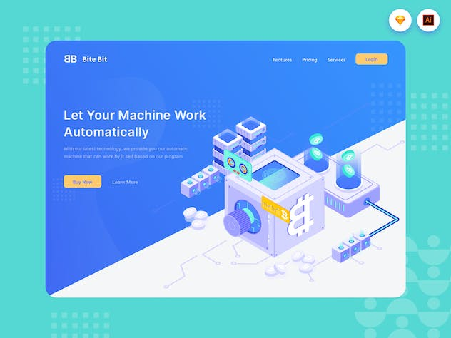 Automatic Machine - Website Header - Illustration - product preview 1