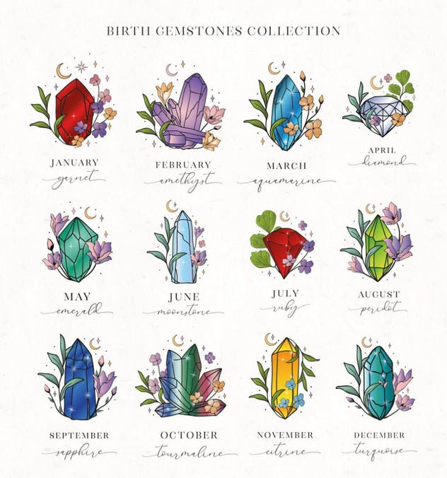 Hand Painted Birthstones Gems Illustrations. - product preview 1