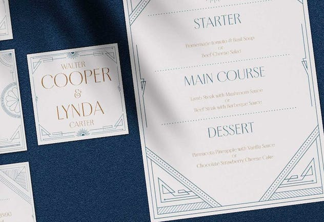 Art Deco Wedding Invitation Pack - product preview 3