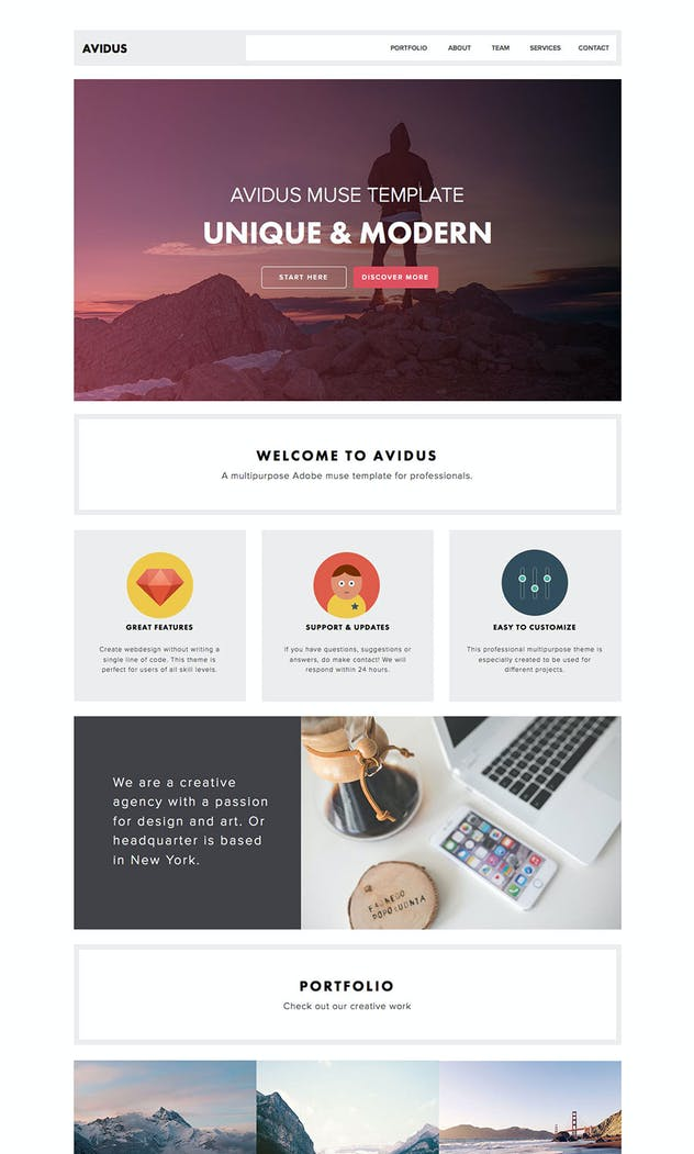 Avidus - Multipurpose Muse Template for Creatives - product preview 1