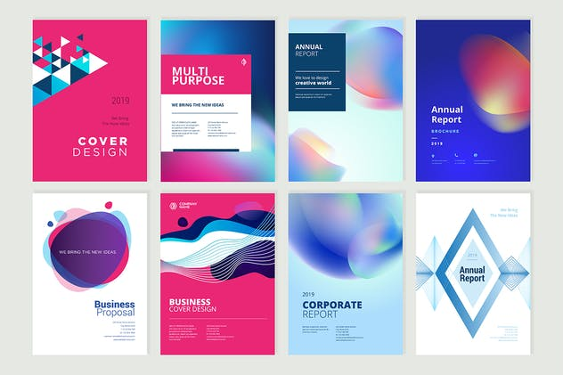 Set of brochure, annual report design templates - product preview 1