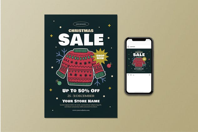 Christmas Sale Flyer Set - product preview 1