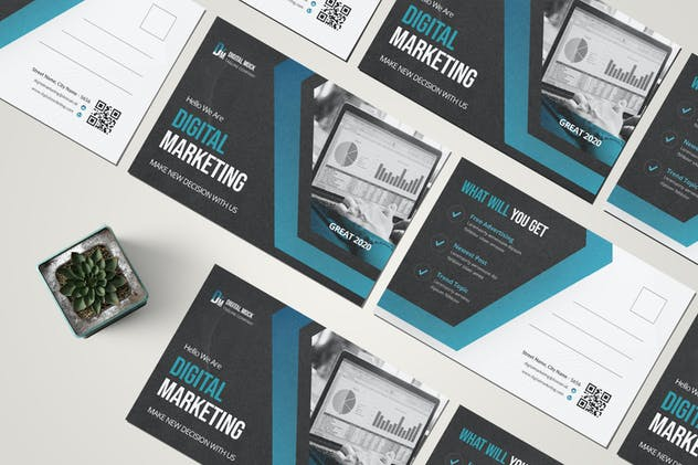 Digital Marketing Postcard - product preview 3