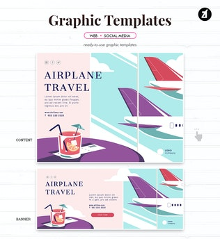 Thumbnail for Airplane Travel Graphic Templates