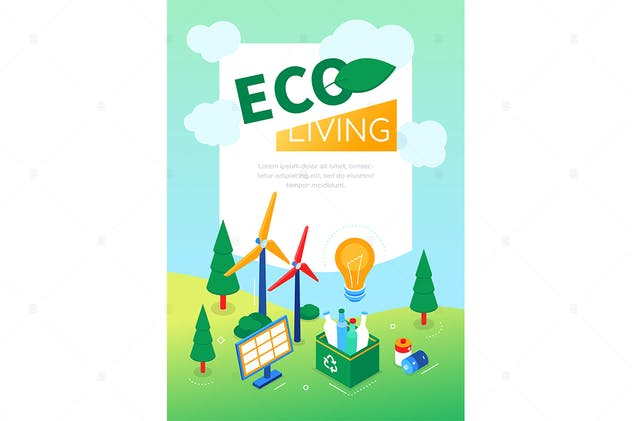 Eco living - modern colorful isometric web banner