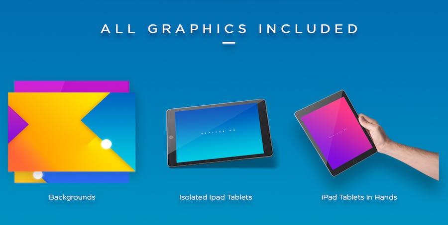 Preview image 4 for iPad Tablet UI Приложение Мокапы с яркими Фоны