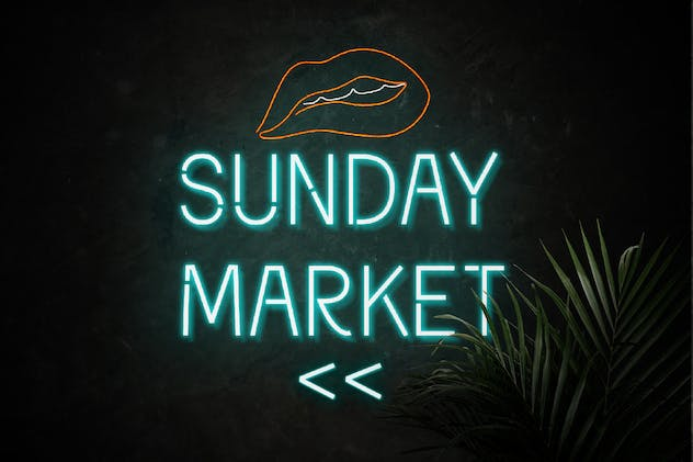 Neomarket - Retro Neon Sign Font - product preview 1