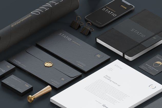 STATIO: Stationary Corporate Mockup Black Edition