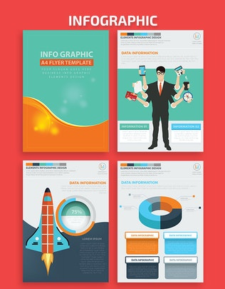Миниатюра для Бизнес-Инфографика A4 Шаблон Дизайн