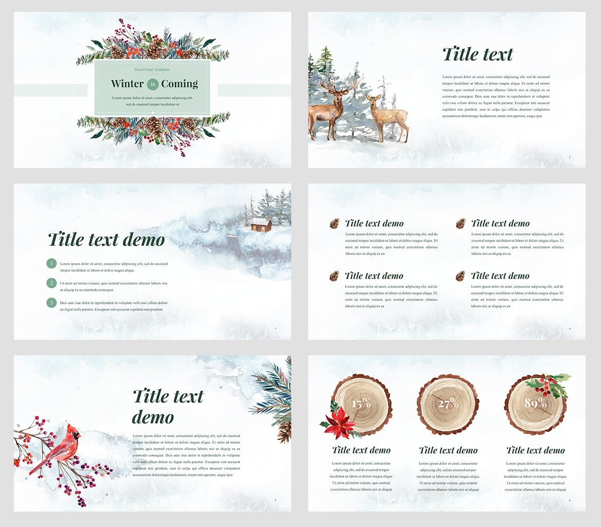 winter watercolour powerpoint template by site2max on envato elements