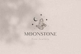 Moonstone Pre-Made Brand Logo Design. Gemstones.