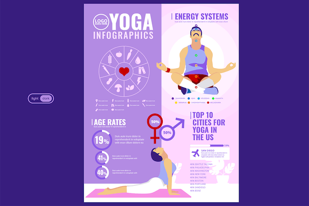 Sport Infographic Template: Yoga & Home Exercise - product preview 1