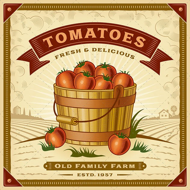 Retro Tomato Harvest Label With Landscape