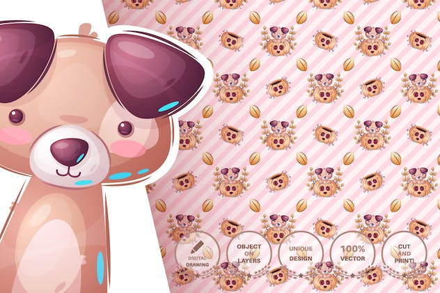Set cute sticker - seamless pattern - product preview 5
