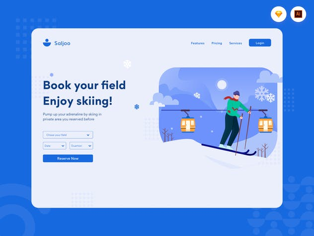 Enjoy Skiing - Website Header Illustration - product preview 1