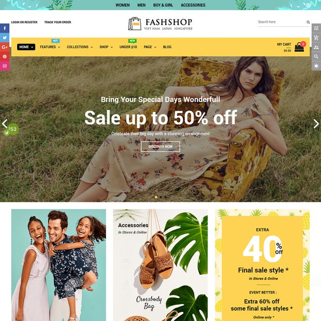 FashShop - Drag & Drop Bootstrap 4 Shopify Theme