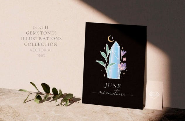 Birthstones Gems Illustrations. White colored. - product preview 1