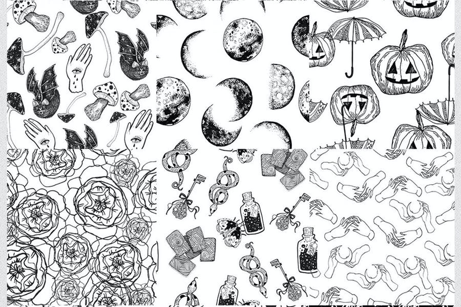12 seamless ink hand-drawn patterns set  - product preview 3