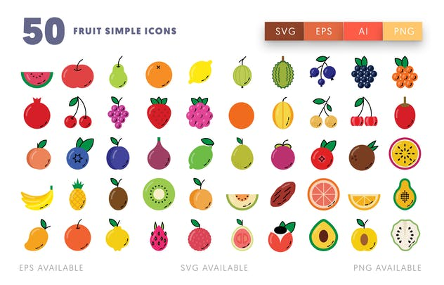 50 Fruit Simple Icons - product preview 1