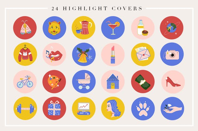 24 Cartoon Highlight Icon Set - product preview 1