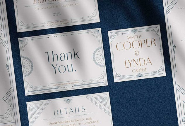 Art Deco Wedding Invitation Pack - product preview 2