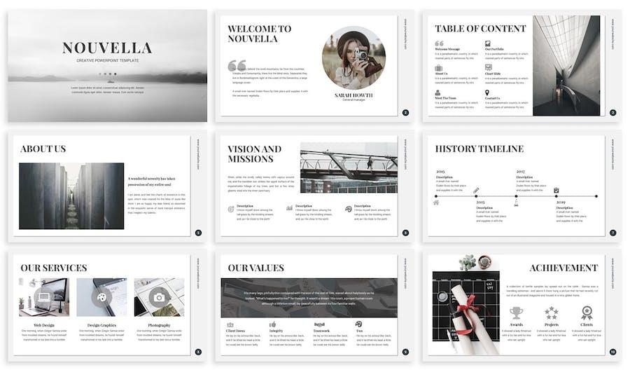 Nouvella Creative Powerpoint Template Design Template Place