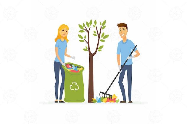 Volunteers collect garbage - vector illustration