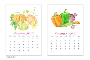 Thumbnail for 2018 Watercolor Vegetable Calendar A4