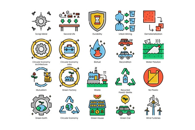 80 Circular Economy Line Icons - product preview 4
