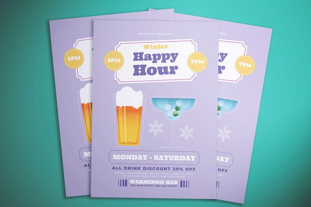 Winter Happy Hour Flyer - product preview 2