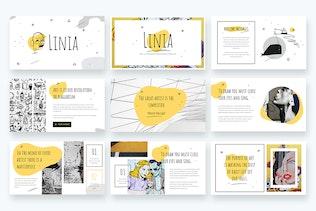 Миниатюра для LINIA - Линейная иллюстрация Шаблон Powerpoint