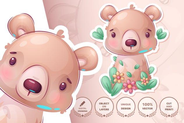 Bear in flower - seamless pattern