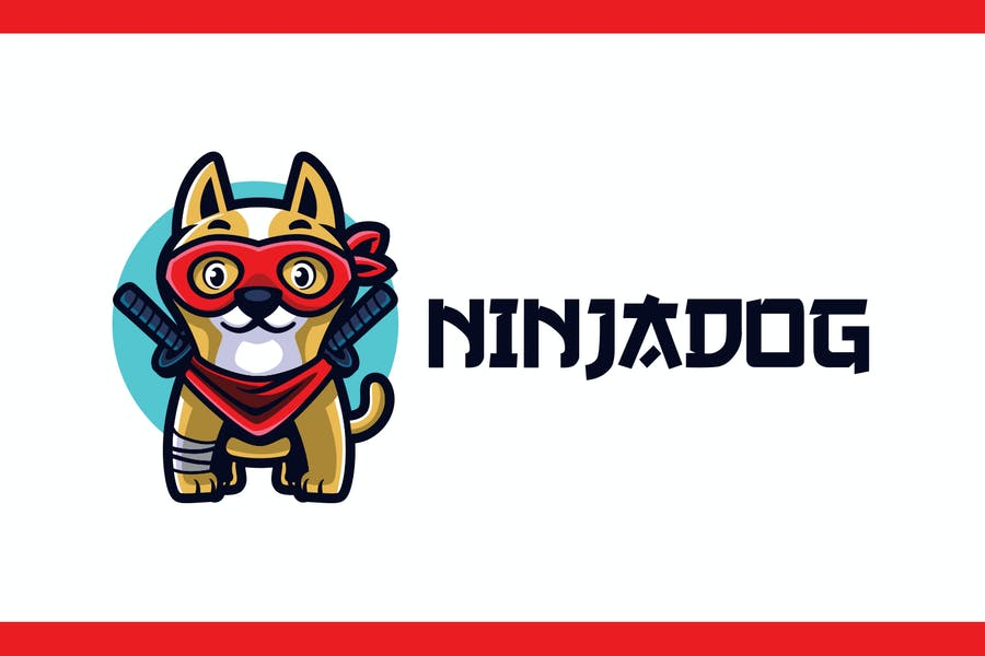 Cartoon Ninja Dog Mascot Logo - product preview 1