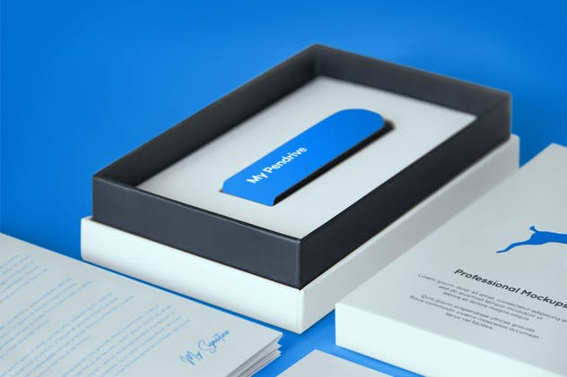 Open Product Box with Pendrive PSD Mockup - product preview 1