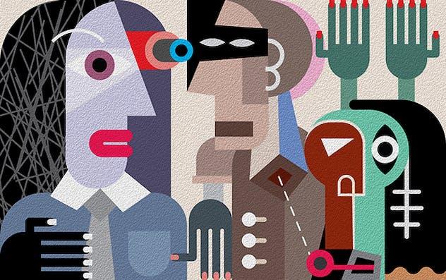 Robbery, criminal violence fine art painting