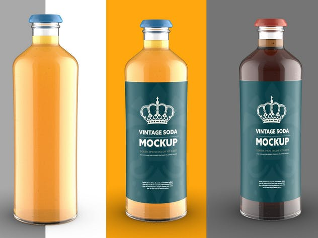 Vintage-Style Soda Bottle Colored Mockup - product preview 1