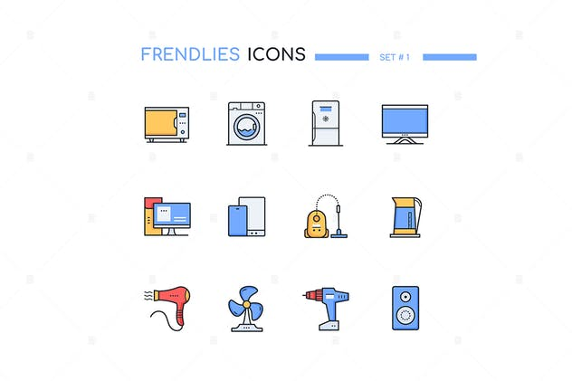 Household and office appliances - line icons - product preview 1