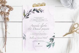Thumbnail for Botanical wedding invitation v3