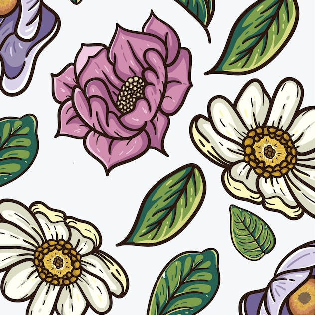 vintage vector pattern of flowers and leaves - product preview 1