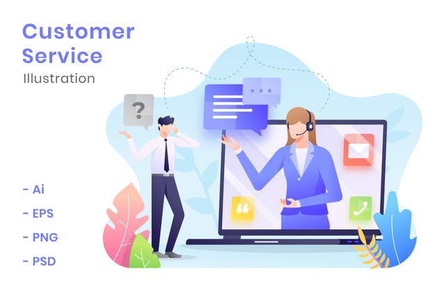 Customer Service Illustration - product preview 1