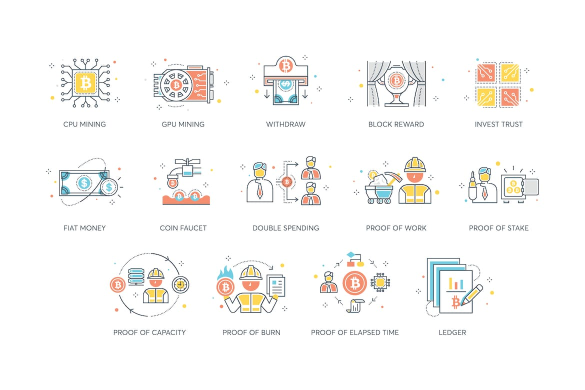 74 Bitcoin & Cryptocurrency Icons by Krafted on Envato Elements