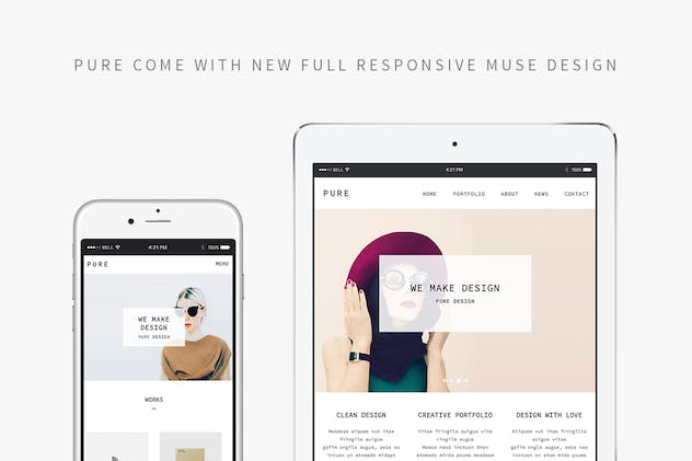 Pure - Responsive Creative Portfolio Muse Template - product preview 0