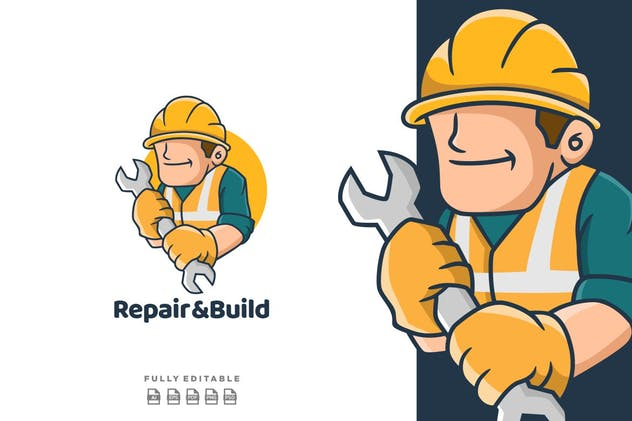 Repair & Build Cartoon  Mascot Logo