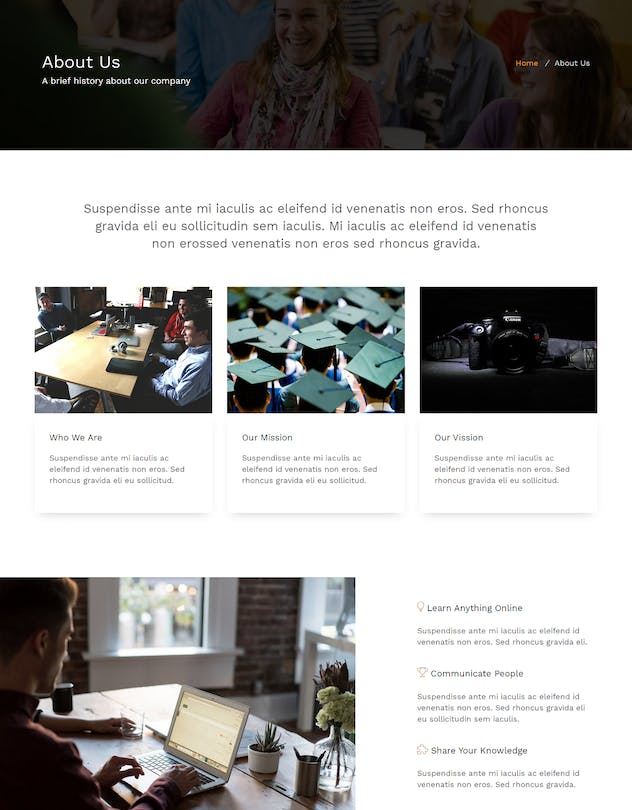 E-School - Learning and Courses HTML5 Template - product preview 3