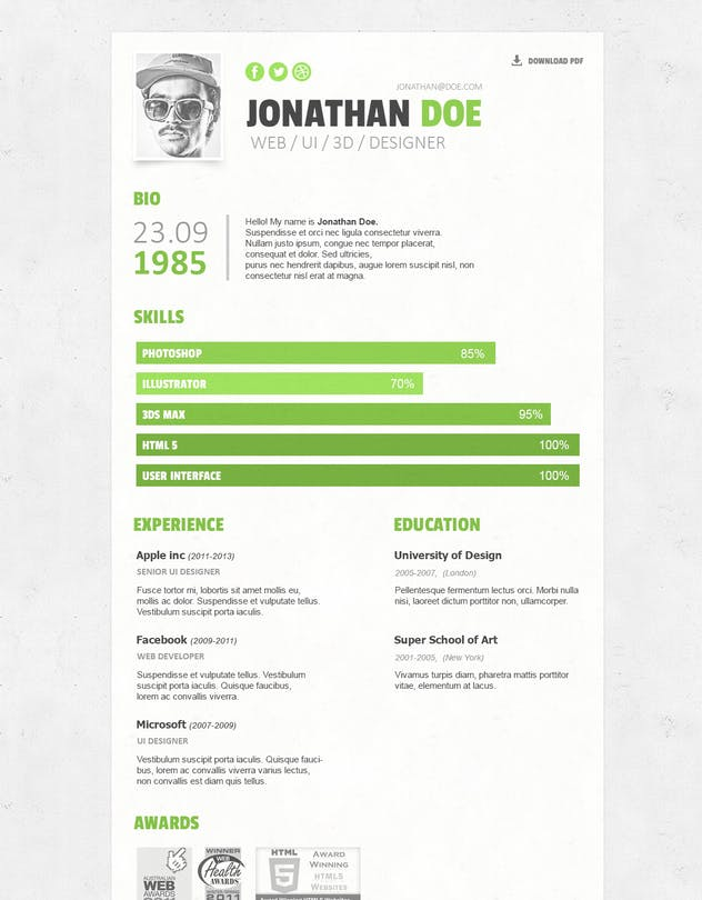 Simple Resume/CV Template by Zomorsky on Envato Elements