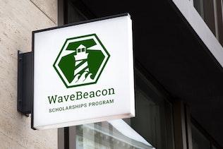Thumbnail for Wavebeacon : Negative Space Lighthouse Logo