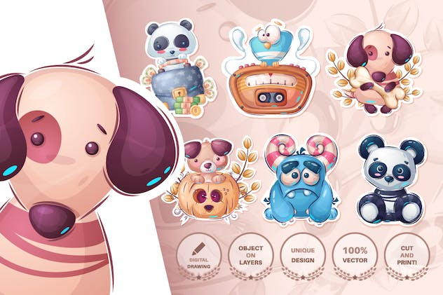 Set cute sticker - seamless pattern - product preview 12