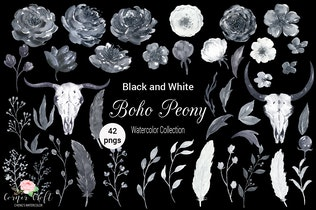 Thumbnail for Watercolor Boho Peony Black and White