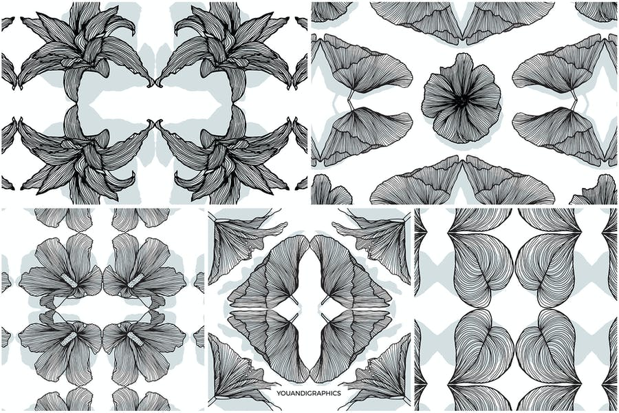 Lineart Floral Patterns & Elements - product preview 12