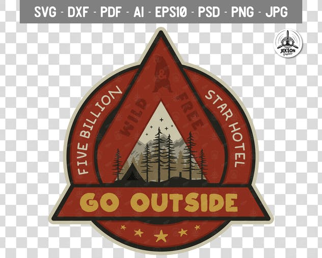 Outdoor Adventure Badge / Vintage Camp Logo Patch - product preview 3